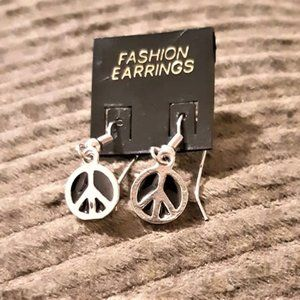Silver and Black PEACE Sign Dangle Earrings